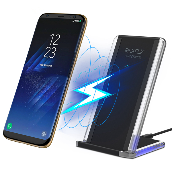 RAXFLY LED Qi Wireless Charger Phone Holder With QC2.0/
