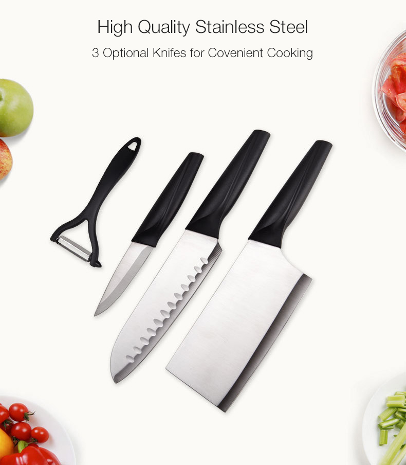 KCASA KF-4 6 Pieces Kitchen Multifunctional Stainless Steel Ergonomic Easy Cutting Knifes Peeler Slicer Knife Rest Knife Set