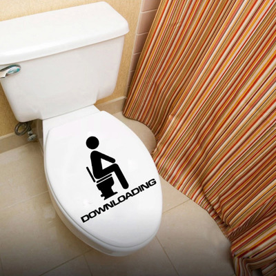 Toilet Wall Sticker Bathoom Decor Thinking Downloading 15 x 13cm Funny Toilet Entrance Sign Decal Sticker