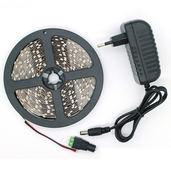 5M SMD 2835 300 LED White/Warm White LED Strip Flexible Light + Power Supply + Connector DC 12V