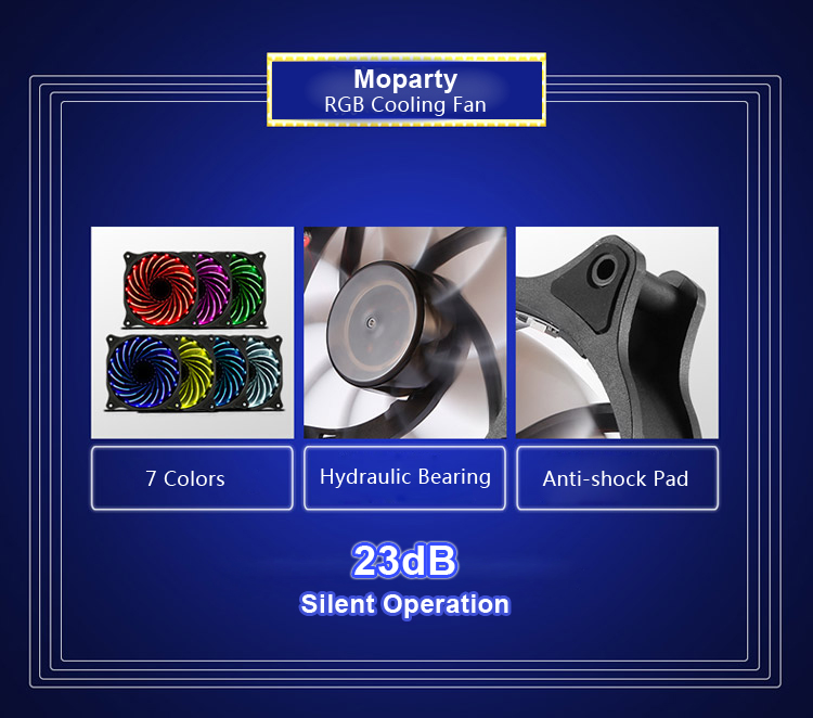 Segotep Moparty 12cm RGB LED Cooling Fan Set 3 Fans with Controller