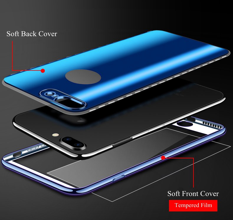 Bakeey Full Body Protective Case For iPhone 8/8 Plus/7/7 Plus/6s Plus/6s/6 Plus/6/5/5s/SE Front & Back Cover