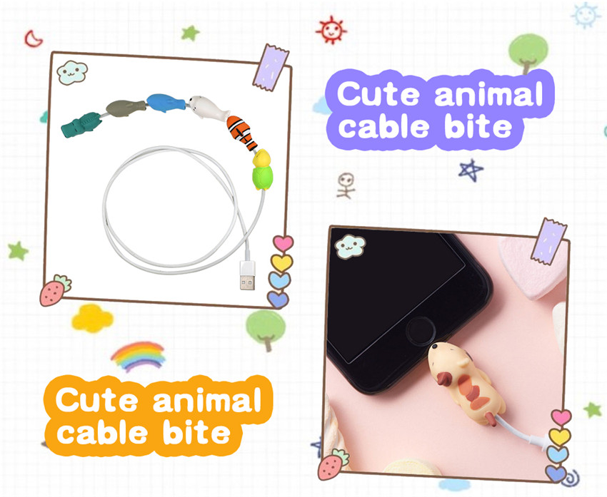 Universal Cute Animal Shape Charging Data Cable Protector Winder Protective Cover