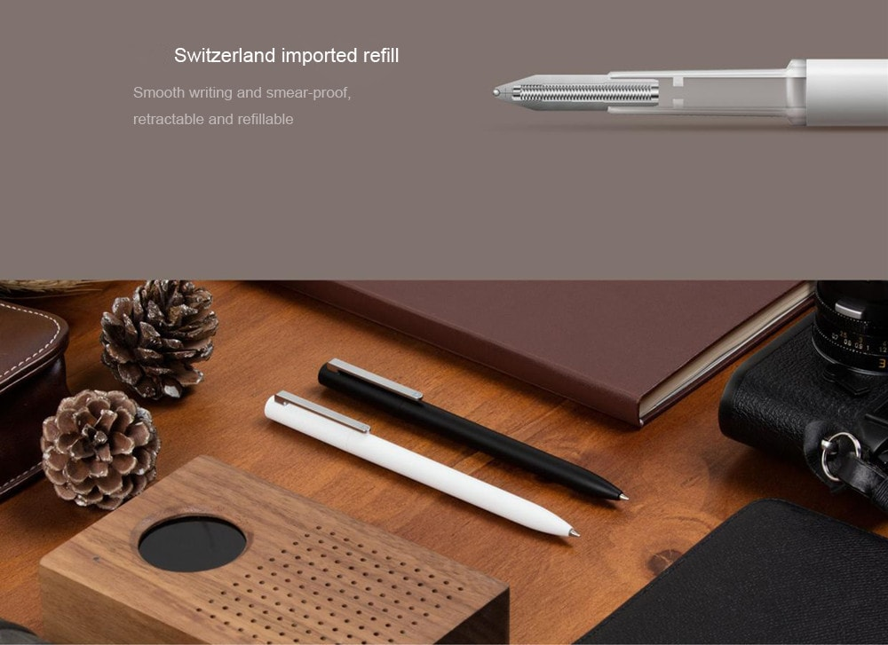 Original Xiaomi Mijia Smooth 0.5mm Writing Point Durable Signing Pen WIth 3Pcs Black Ink Refill