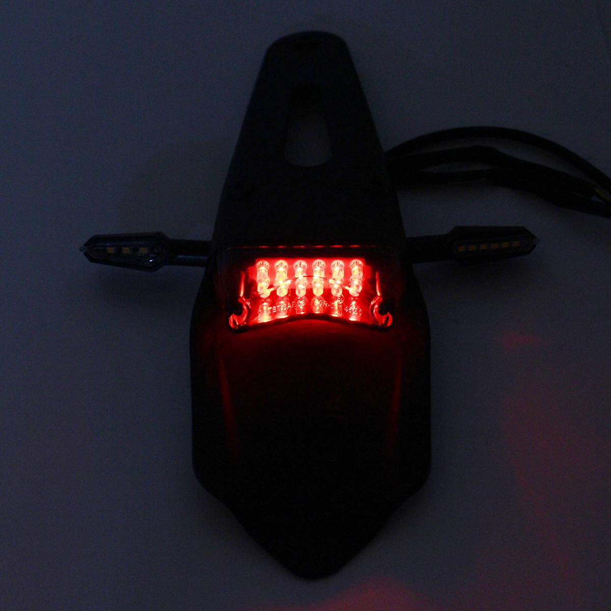 12V Universal Motorcycle Enduro LED Rear Fender-Brake Tail Light With Turn Signals
