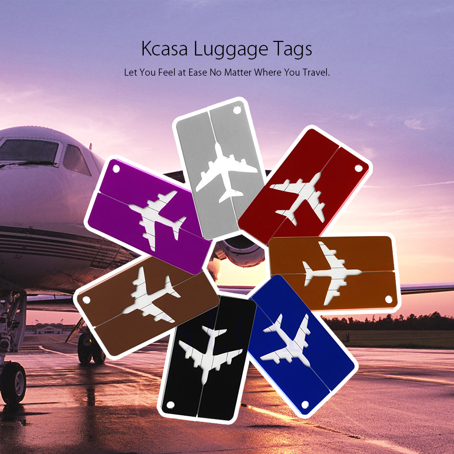 KCASA KC-LP07 Metal Travel Luggage Tags Steel Loop Suitcase Bag Labels Address Privacy Cover