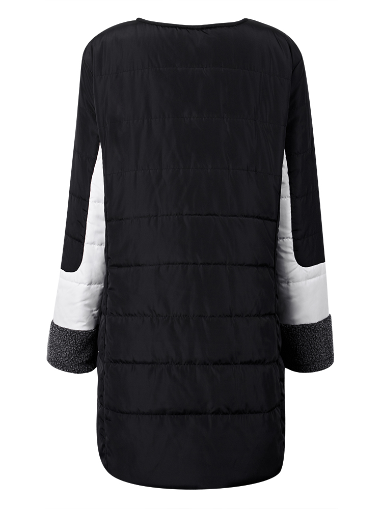 Elegant Women Single Breasted Long Sleeve Patchwork Thicken Wadded Coat