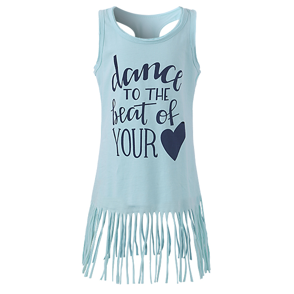 Baby Kid Girls Letters Heart Printed Tassel Sleeveless Tank Dress