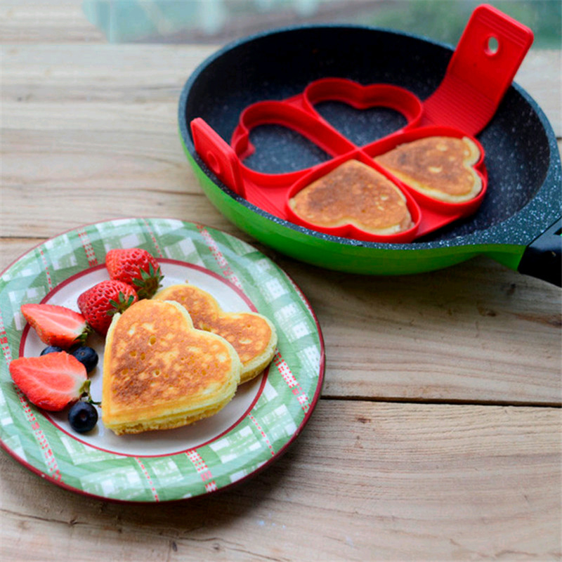 Honana CF-BW12 Silicone Pan Cake Mold Non-stick Heart Square Flower Shape Omelette Mold Egg Ring