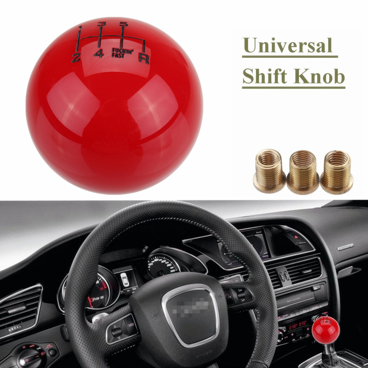 M10X1.5mm 6 Speed Round Ball Gear Shift Knob Short Throw Shifter Lever Universal