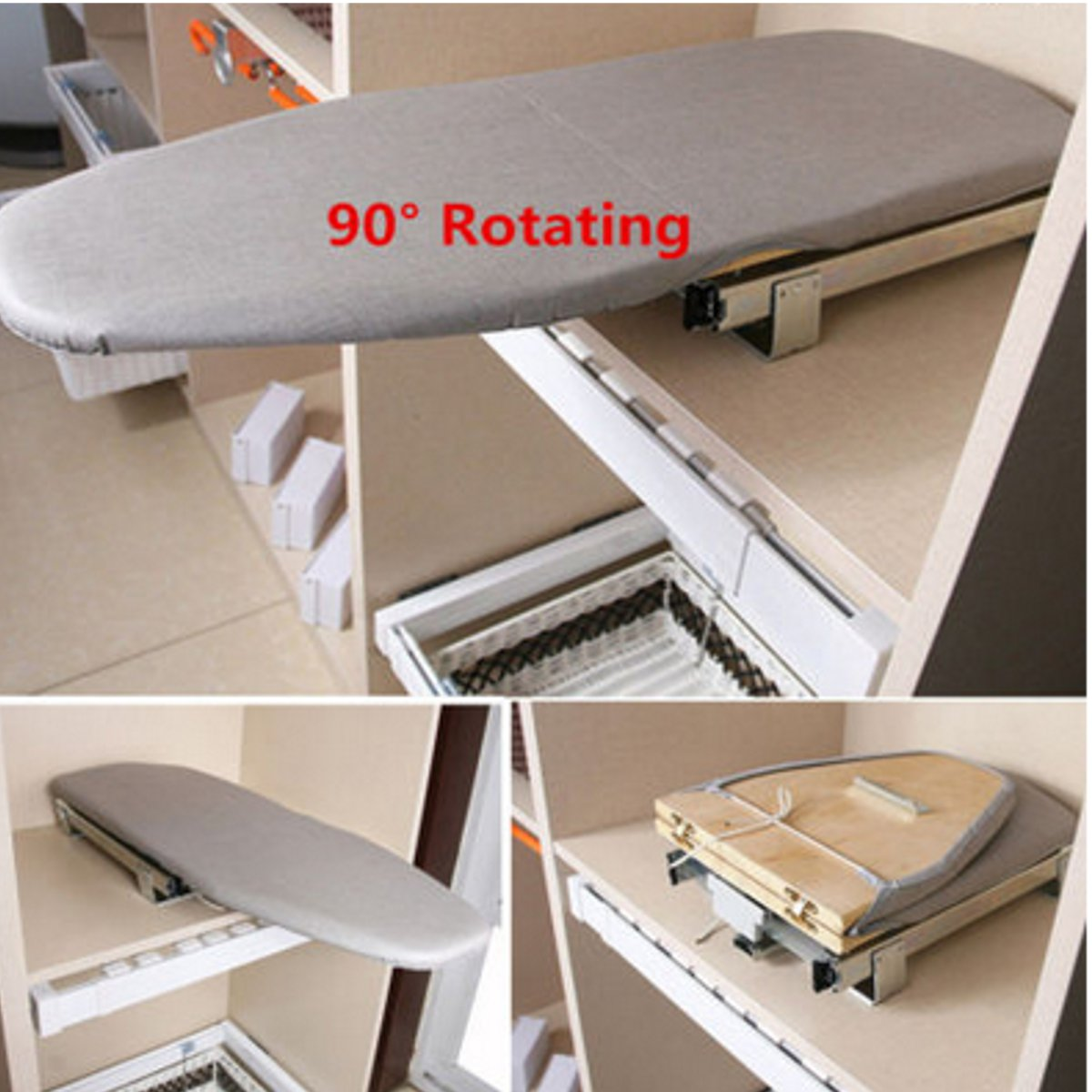 Folding Ironing Board Pull Out Slide Out Rotary Drawer Mounted Ironing Board
