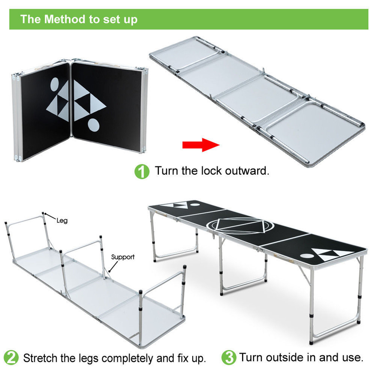 8FT Portable Aluminum Beer Ping Pong Table Outdoor Folding Drinking Game Party Desk