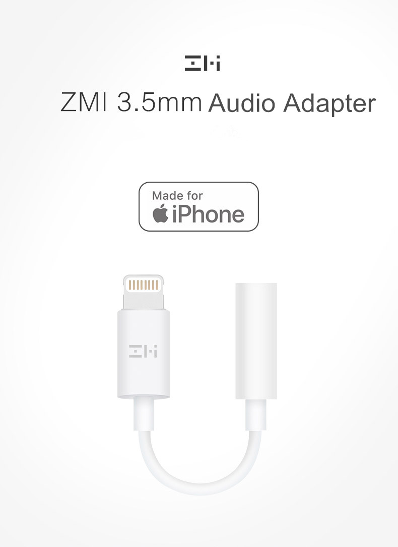 Original Xiaomi ZMI Lightning for 3.5mm Fast Charging Headphone Jack Cable Adapter for iPhone S8 X