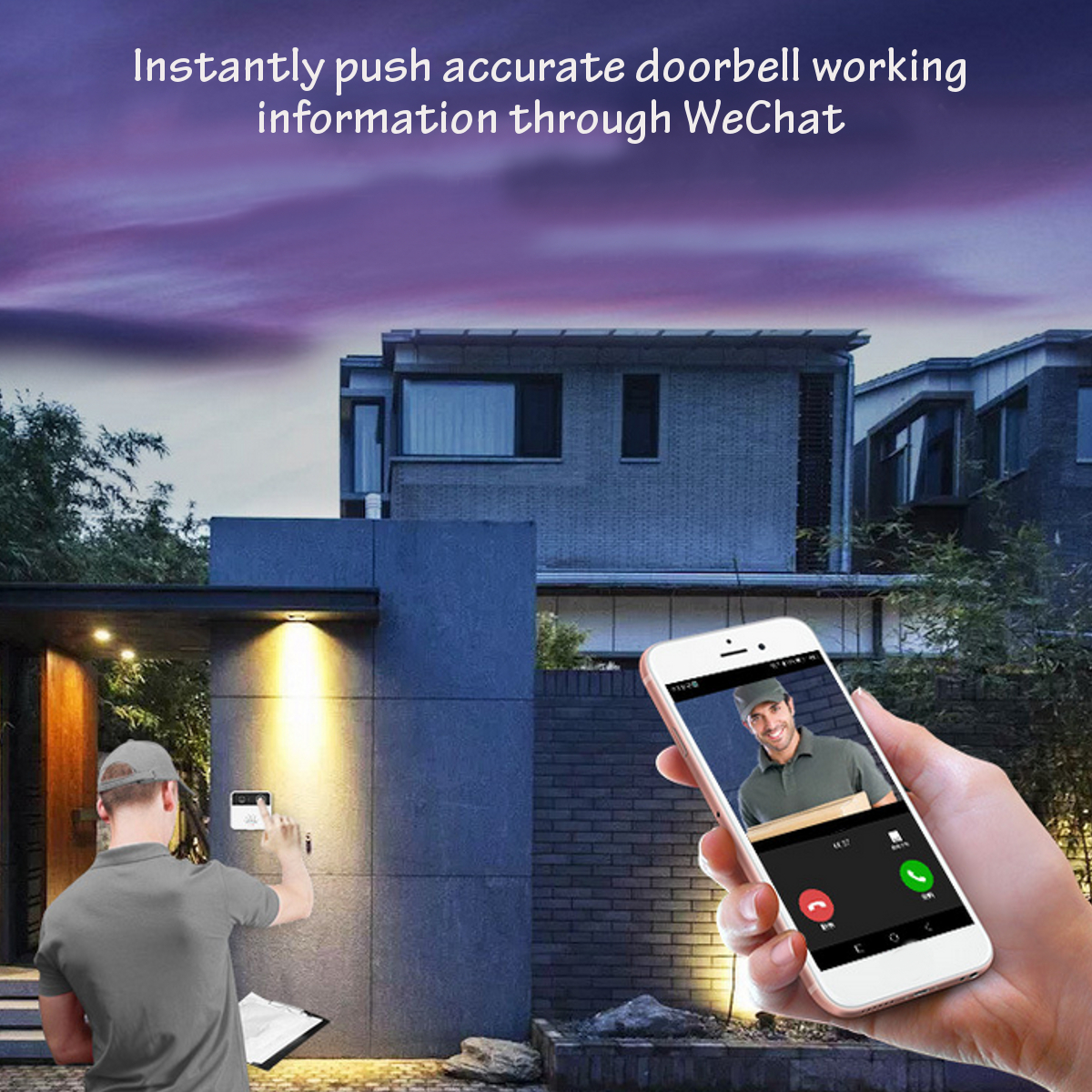 Wireless WiFi Intercom Smart HD Video DoorBell Camera Phone Home Ring Bell