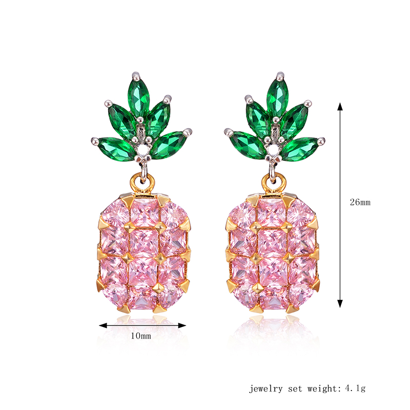 Cute Pineapple Earrings New Fashion Shiny Zircon Inlay Exquisite Ear Stud Clothing Accessories