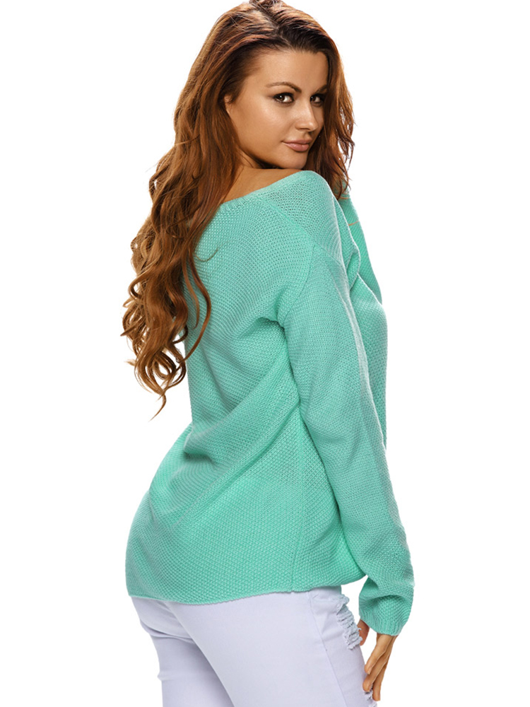 Sexy V-neck Pure Color Long Sleeve Loose Thin Pullover Sweaters For Female