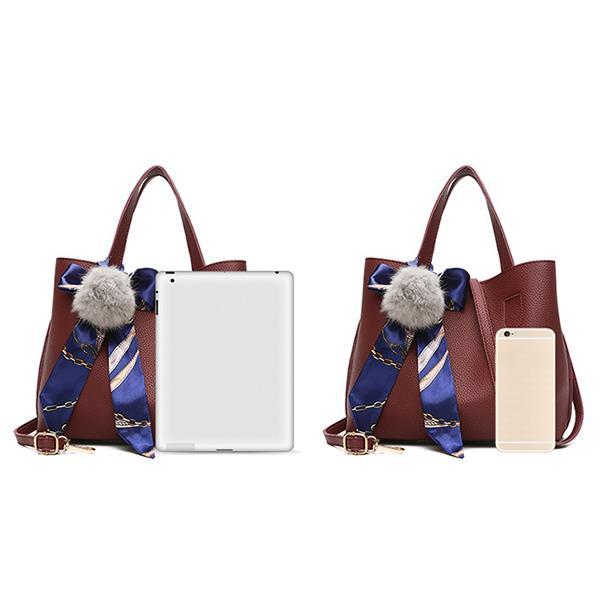 Bucket Handbag Messenger Bag Fur Ball Scarf Bag For Women