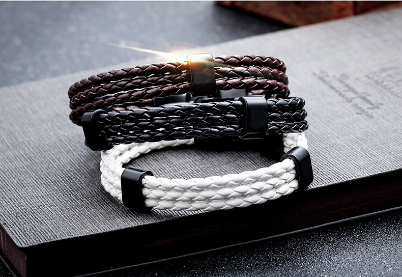 20cm Vintage Leather Bracelet Multilayer Woven Wristhand