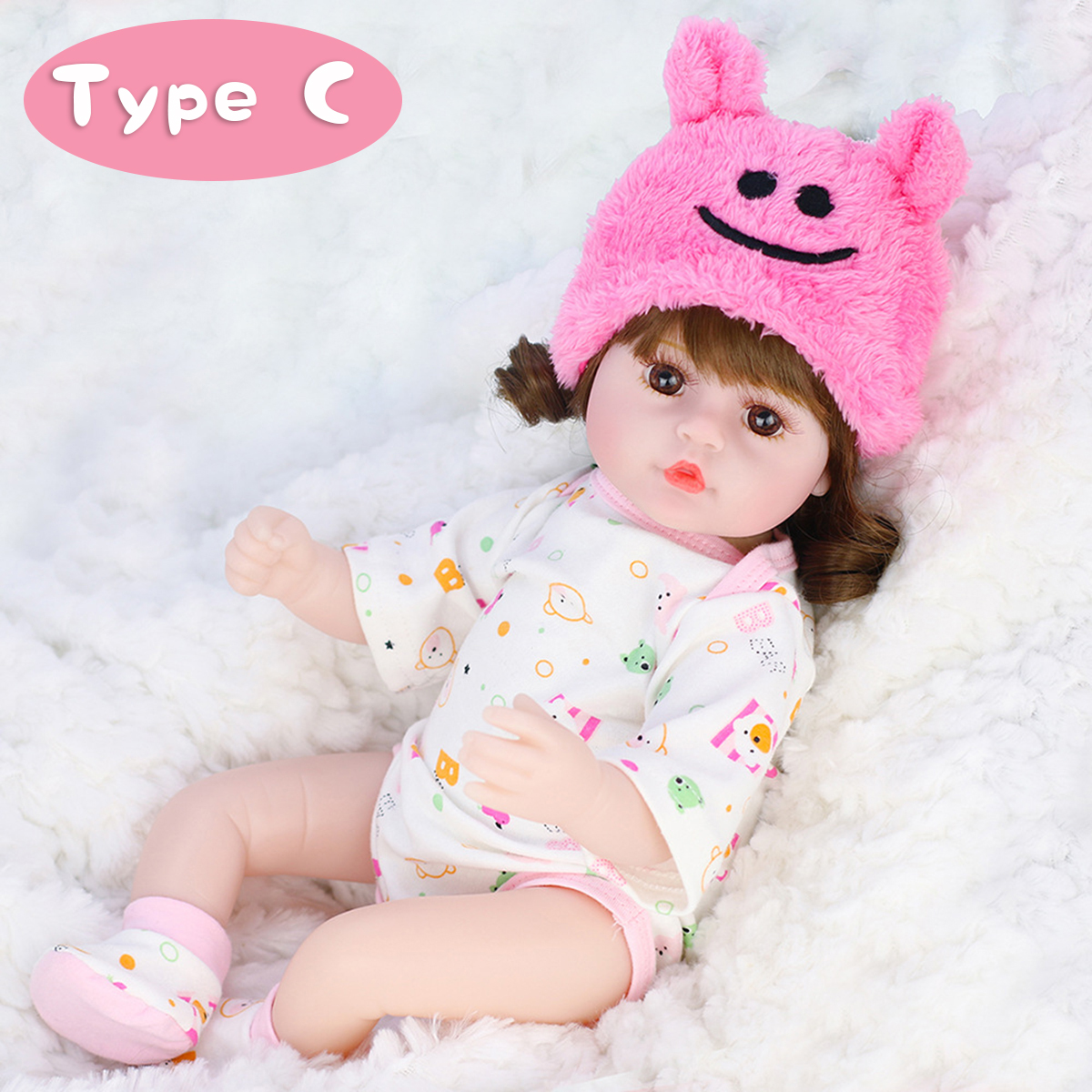 42CM Soft Silicone Vinyl Acrylic Eye Rotatable Limbs Cute Lifelike Realistic Reborn Baby Doll Toy for Kids Gift