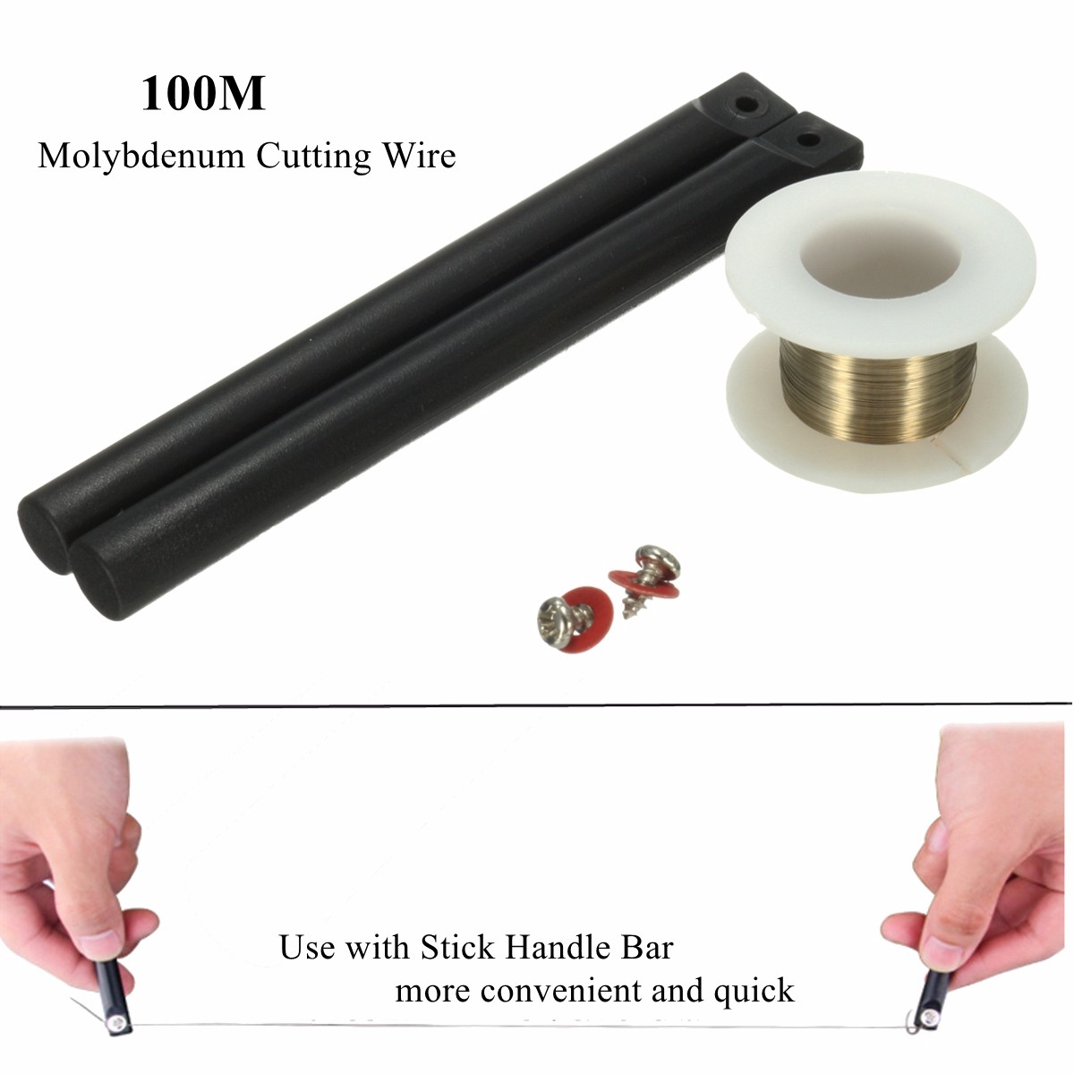 100M Phone LCD Molybdenum Cutting Wire Glass Screen Separating +Stick Handlebar
