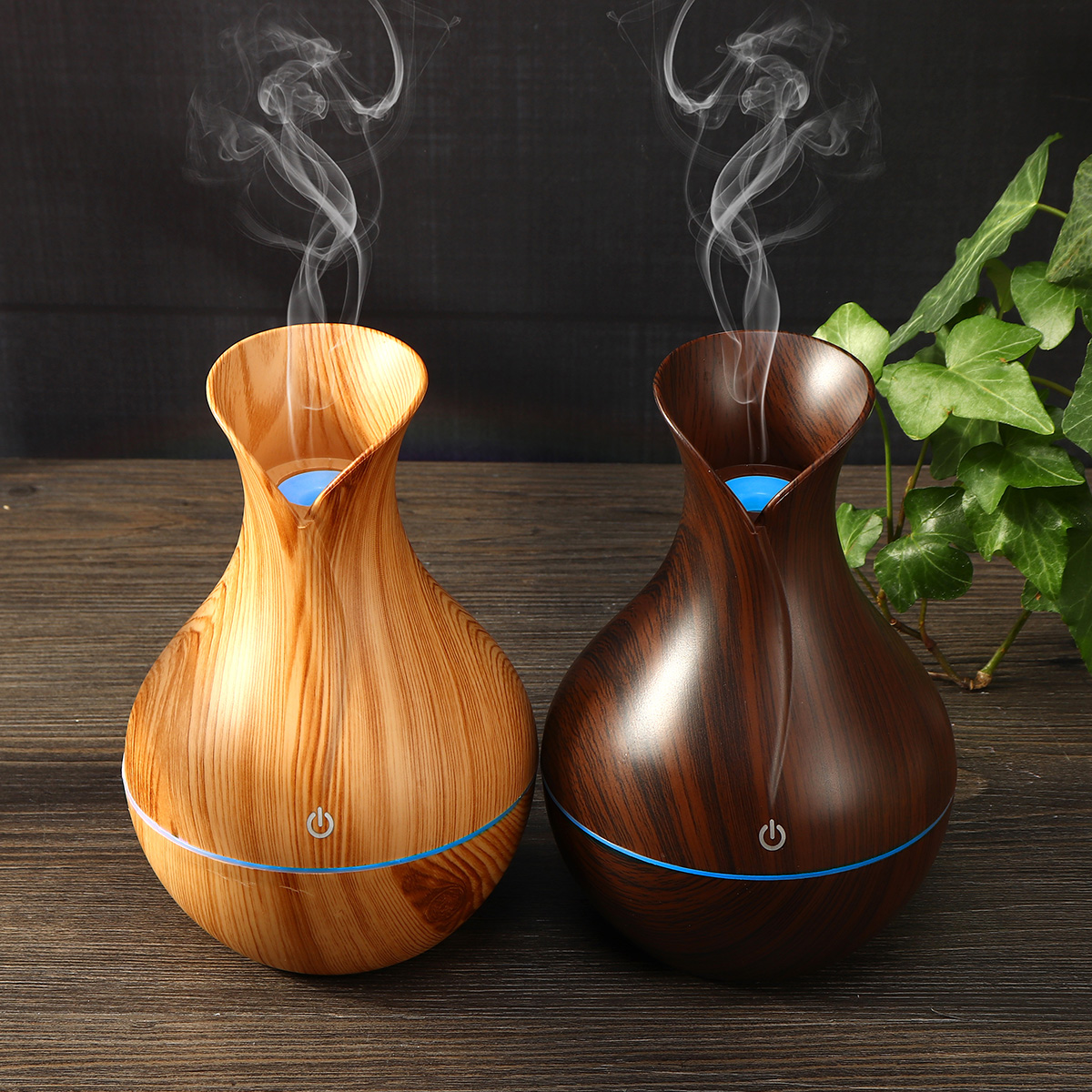 USB Electric Wood Grain Ultrasonic Cool Mist Humidifier Aroma Essential Oil Diffuser LED lights