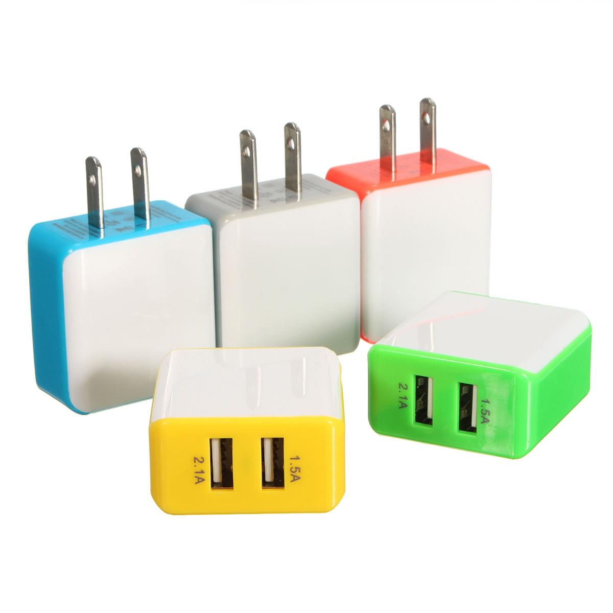 2.1A/1.5A Dual 2 USB Wall Charger LED Home Travel Charging Power Adapter US Plug
