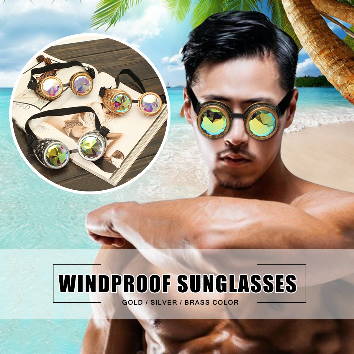 Kaleidoscope Glasses Vintage Style Windproof Outdoor Sunglasses Gold/ Siver/ Copper