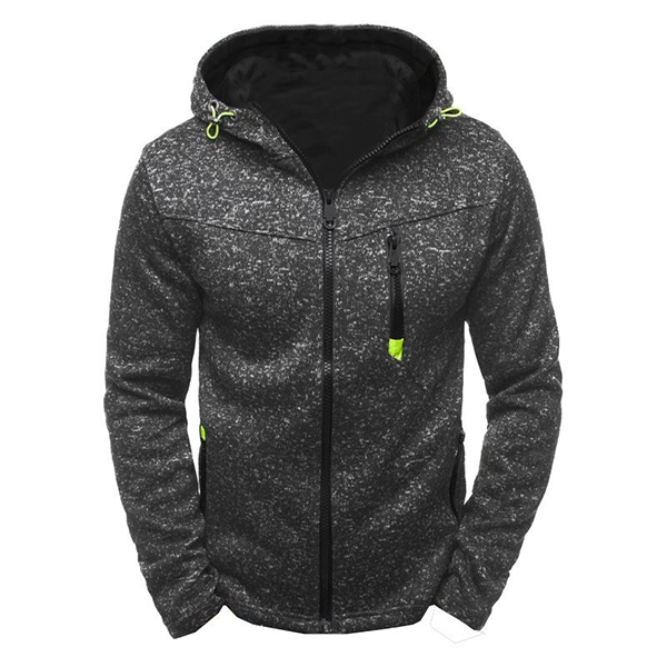 Men's Sports Leisure Jacquard Fleece Cardigan Fashion Thick Zip Up Hooded Jacket
