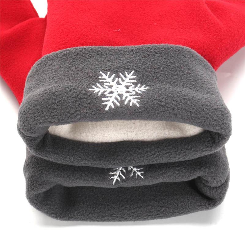 Men Women Polar Fleece Couple Gloves Winter Warm Lovers Double Glove Christmas Gift