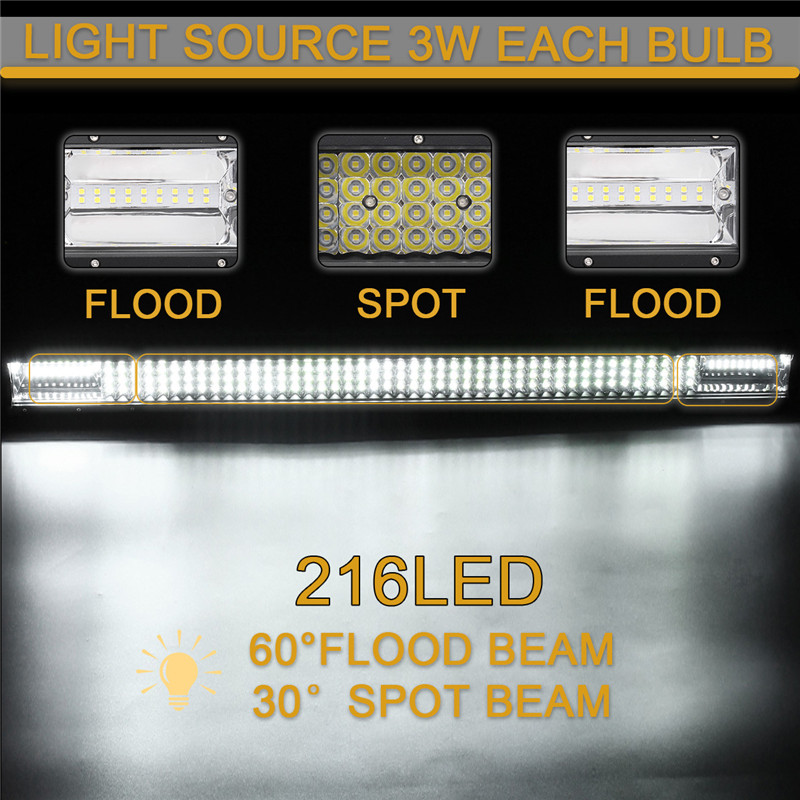 32Inch Quad Row LED Work Light Bars Combo Beam Driving Lamp 10-30V 648W 64800LM 6000K for Off Road SUV Trailer