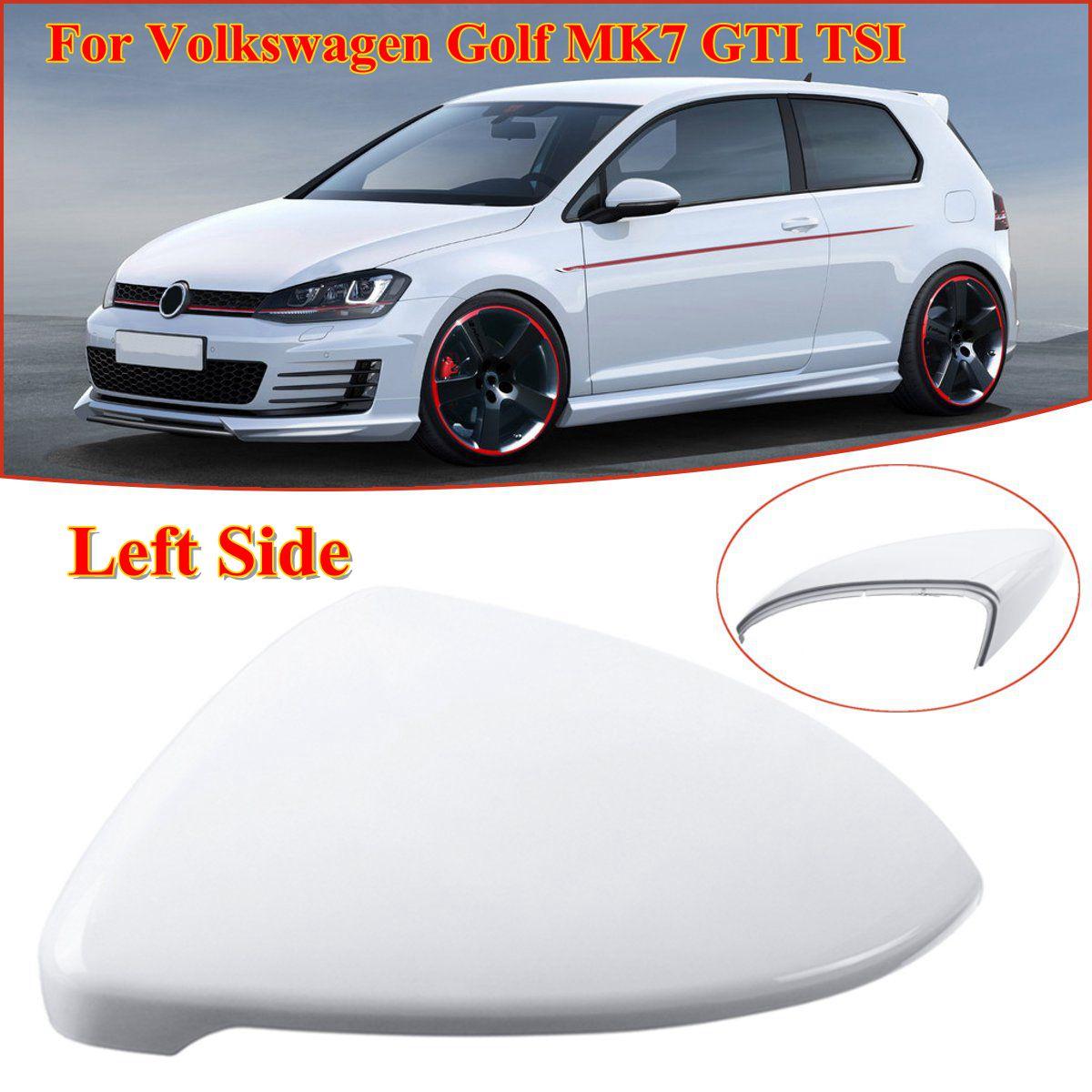 Pure White Left or Right Side Car Mirror Cover Caps For Volkswagen Golf MK7 GTI TSI 14-17