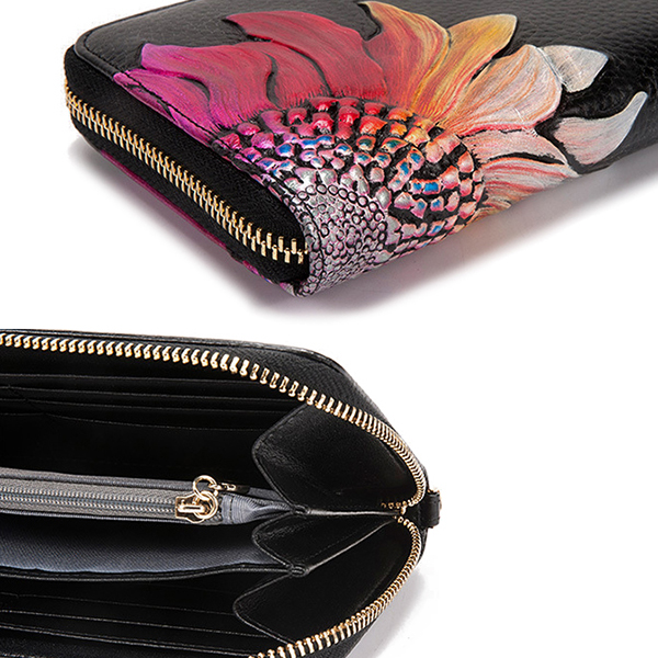 Brenice Women Cowhide Embossed Floral Long Wallet Vintage Zipper Clutch Bag Purse