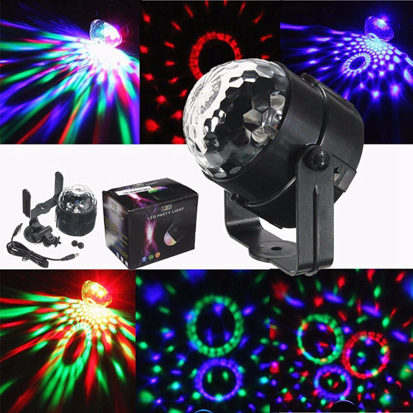3W USB LED Colorful Sound Activated Crystal Magic Ball Stage Light for Disco DJ Festival Party Decor