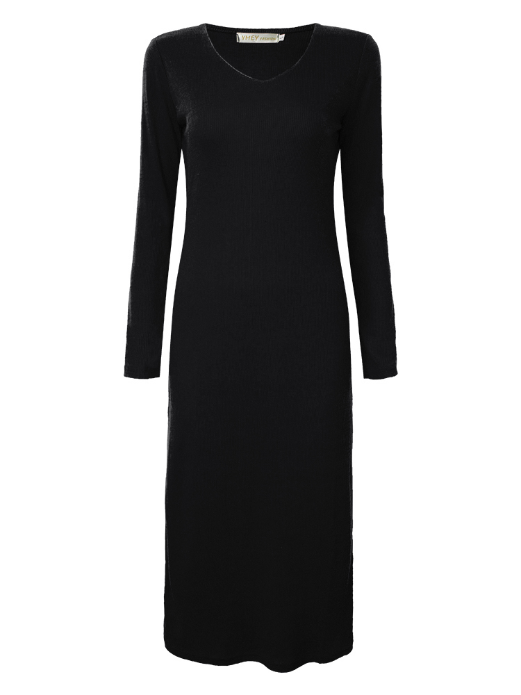Elegant Casual Women Long Sleeve Solid Knit Bodycon Maxi Dress