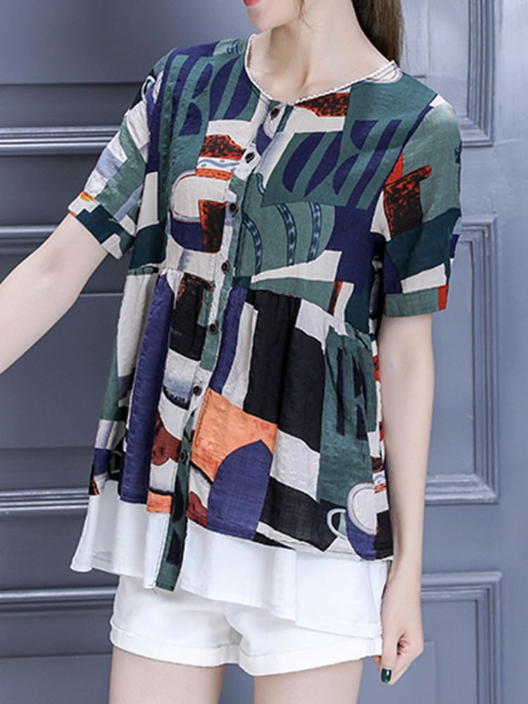 Women Casual Printed Short Sleeve Blouse Buttons O-Neck Top