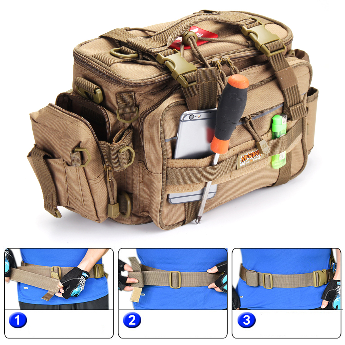 Outdoor Portable Fishing Bag Water Resistant Backpack Multifunctional Bag Salt/Freshwater Fishing
