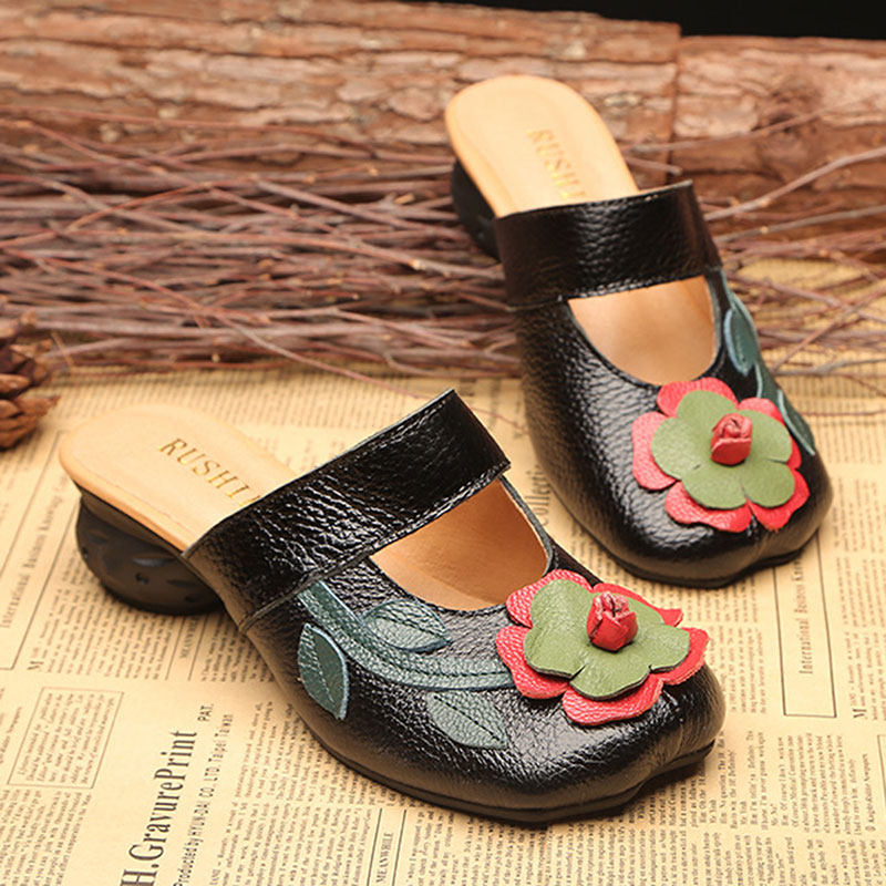 Hollow Out Casual Slip On Leather Wedge Sandals