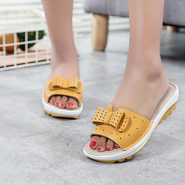 Leather Women Platform Wedges Slippers