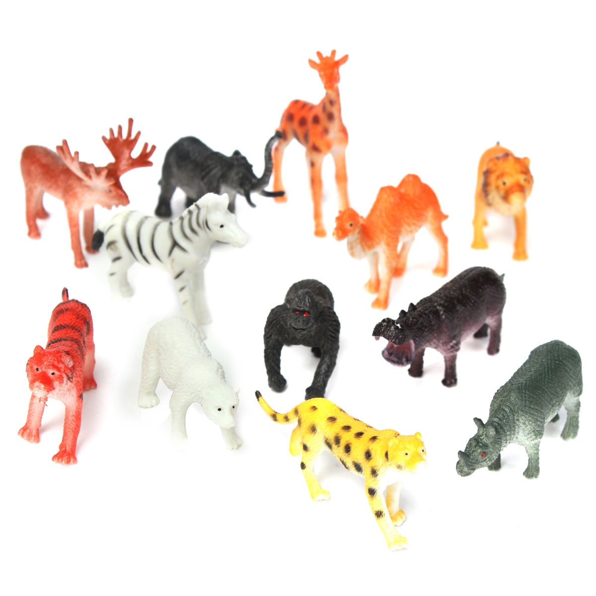 12 Small plastic Zoo Safari animals Lion Tiger Leopard Hippo Giraffe figures