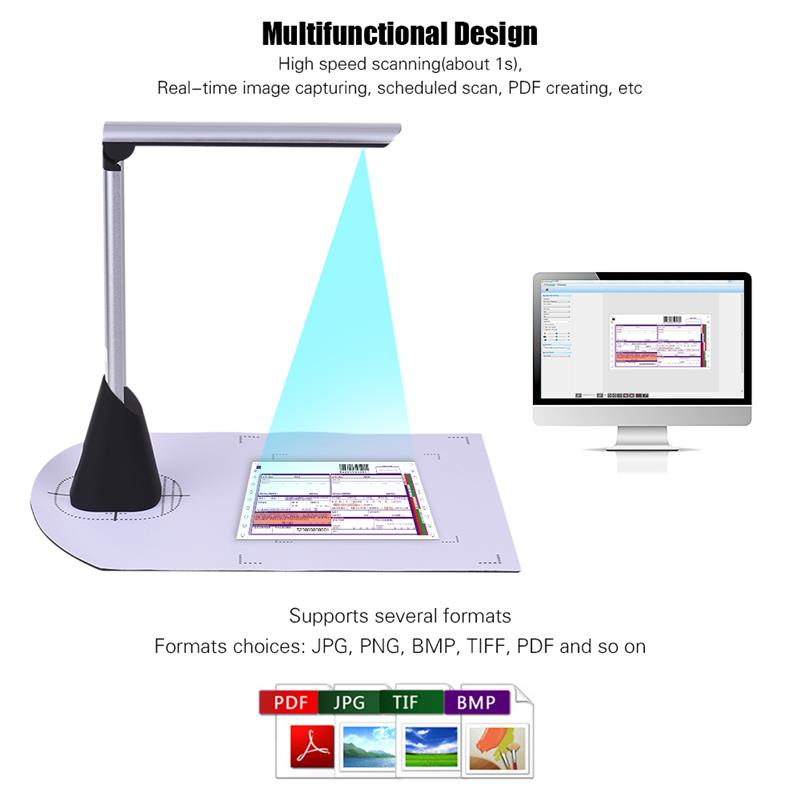 A4 High Speed Document Camera Scanner 5 Mega-pixel HD High-Definition w/ LED Light for School Office