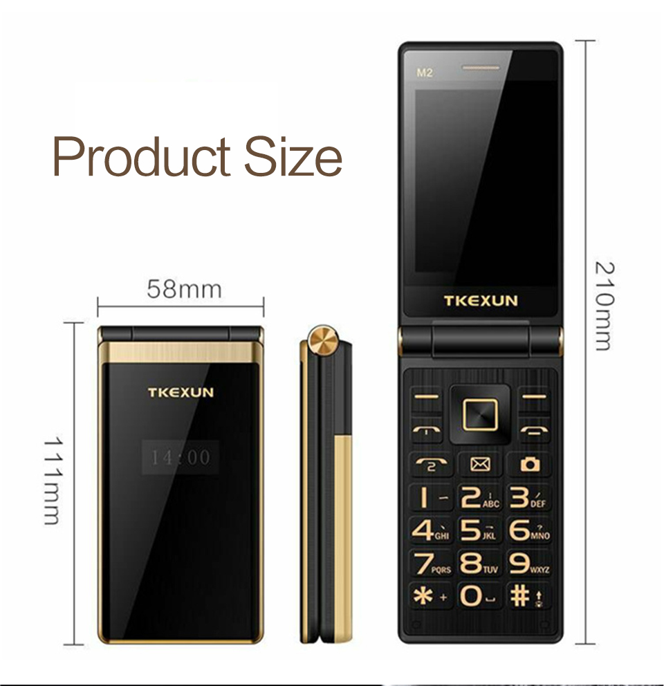 TKEXUN M2 Flip Phone 2800mAh 3.0 inch Touch Screen Blutooth FM Dual Sim Card Flip Feature Phone