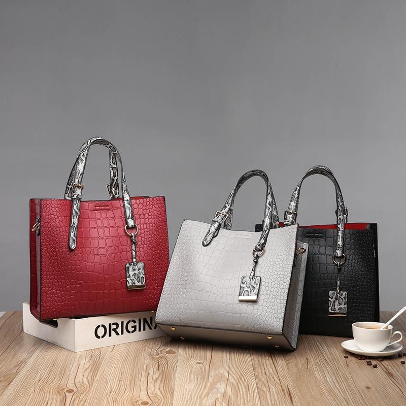 Women Fashion Stone Crocodile Pattern Ladies Bag Handbag