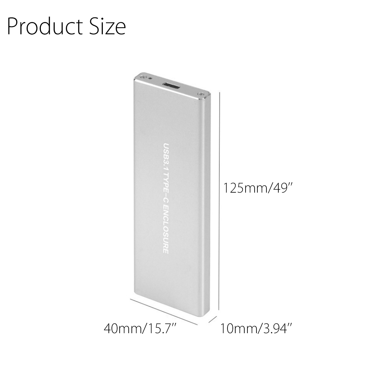 USB 3.1 Type-c To NVME PCI-E M.2 SSD Aluminum Alloy 10Gbps Hard Drive Enclosure Hard Disk Case