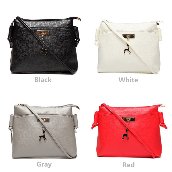 Women PU Leather Deer Shoulder Bags Girls Casual Shell Bags Crossbody Bags