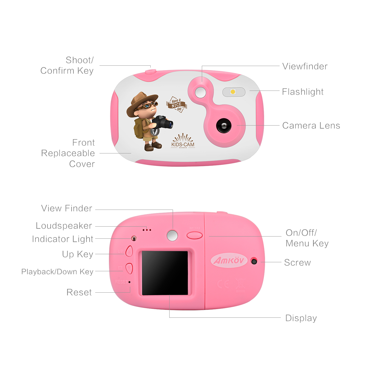 Amkov DF 1.44 Inch HD Screen Mini Kids Children Digital Video Camera