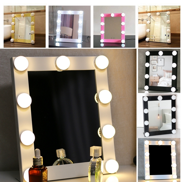 Hollywood Vanity Lighted 9 Bulbs Makeup Mirror With Dim