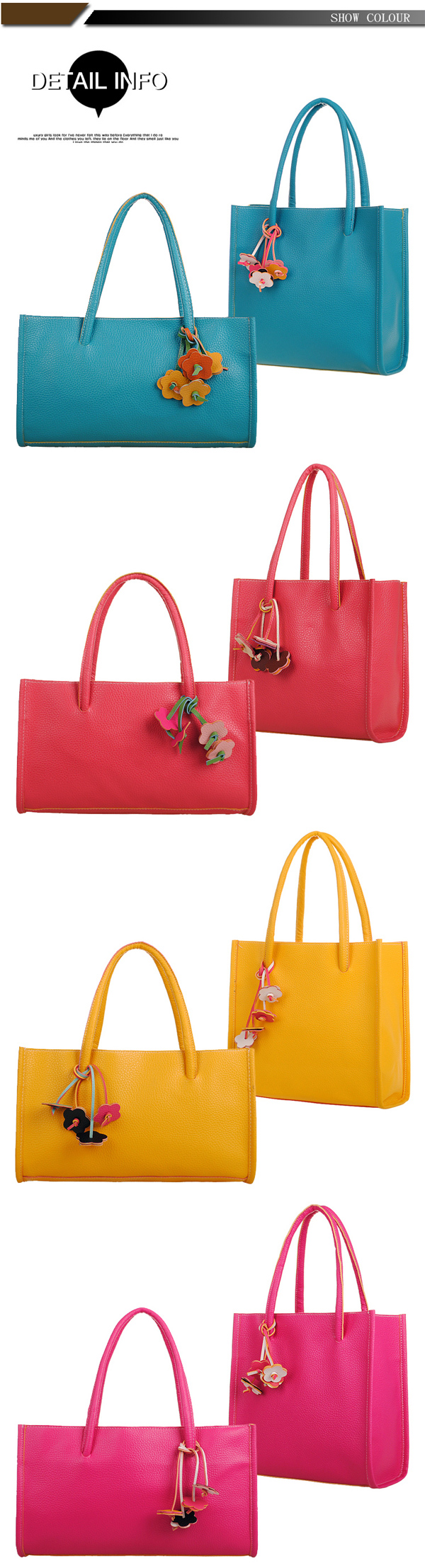 Women Multi Colors Handbag Shopping Bag Casual Tote Bag
