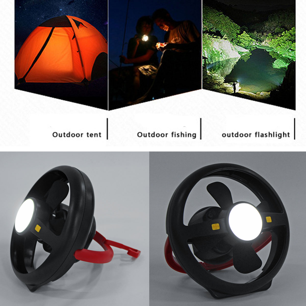 100LM Outdoor Camping Tent Fan Light Lamp Bulb LED USB Rechargeable Lantern Emergency Power Bank