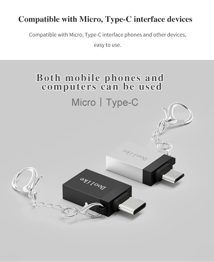 Doolike Metal USB to Type C OTG Adapter for Samsung Galaxy Xiaomi Huawei Android Tablet