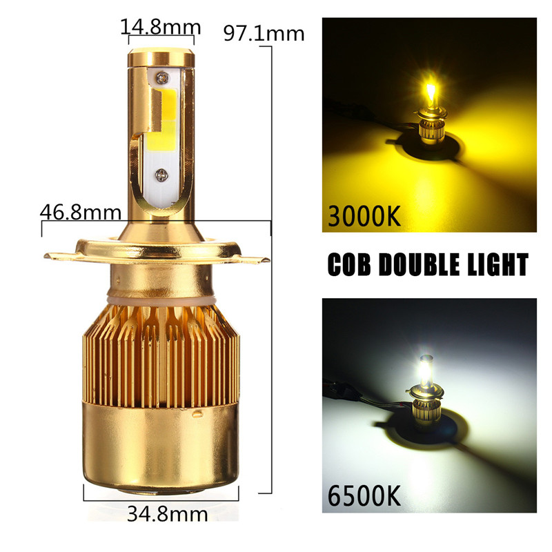 Pair H4 H7 H11 Car LED Headlights Bulbs DC9-32V 38W 4800LM Dual Color White Yellow